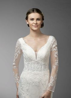 Shop Azazie Wedding Dress - Azazie Elva BG in Tulle and Lace. Find the perfect wedding dress for your big day. Available in full size range and in custom sizing at Azazie. Crochet Monokini, Long Sleeve Gown, Style Finder, Perfect Wedding Dress, Brides And Bridesmaids, Bridal Looks, Party Fashion, Dream Dress, Chiffon Dress
