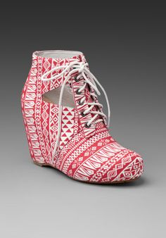 8020 Seanne Wedge Bootie in Terra Cotta. Designer Ce Ce Chin launched this collection of fun-loving footwear.