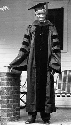 George Washington Carver - looks to be getting ready to attend a Tuskegee graduation