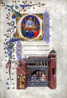 Boethius Instructing His Students/Boethius in Prison: Two Miniatures from Book I of Boethius' On the Consolation of Philosophy (1385, Glasgow, Glasgow University Library).