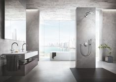 GROHE - Luxury fittings for exceptional bathrooms and kitchens. Our range of bathroom taps, showers, shower heads and kitchen mixer taps includes designs to suit all interior styles and budgets. Bathroom Spa, Bathroom Faucets, Bathroom Goals, Bathroom Layout, Bathroom Ideas, Shower Tub, Shower Heads, Grohe Atrio, Open Showers