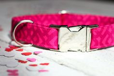 Pink Dog Collar  Valentines Day Pink Hearts Metal by ZaleyDesigns, $25.00