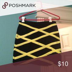 Forever 21 black and neon skirt Black skirt with neon cross cross pattern Forever 21 Skirts Pencil