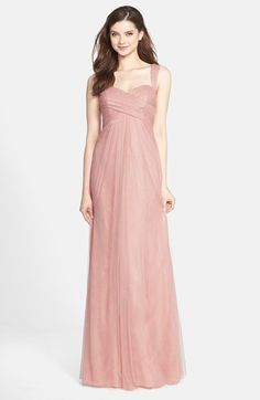 Jenny Yoo 'Willow' Convertible Tulle Gown @ Nordstrom in Begonia Pink (shown) or Cameo Pink (lighter), sizes 0-18, $260.  Actually convertible straps to 4 different positions.