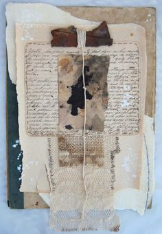 Mixed antique papers eco dyed paper antique ledger cover rust string lace gesso and thread. By Annie Coe Paper Collage Art, Collage Art Mixed Media, Tea Bag Art, Art Journal Pages, Junk Journal, Assemblage Art, Handmade Books, Art Journal Inspiration, Mail Art