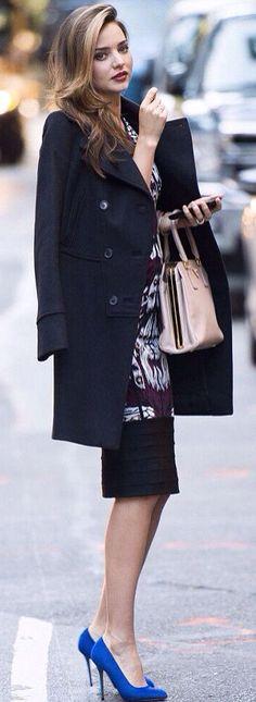 #street #style Miranda Kerr blue color pop @wachabuy