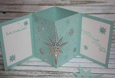 Zauberhaft-handgemacht, Windlichtkarte, Weihnachtsstern, Thinlits Sternenzauber, Weihnachten, SU, Besondere Kartenformen