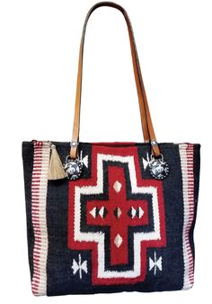 68a7ccf46182 Handmade Tote From Authentic Wool Saddle Blanket. Horsehair Zipper Pull.  Bucking Bronc Conchos.