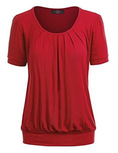 8aefb6590 Women's Tunics - MBJ Womens Scoop Neck Short Sleeve Front Pleated Tunic  Made in USA *