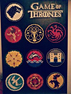 Game of Throne Perler Bead designs. Perler Beads, Fuse Beads, Cross Stitch Games, Cross Stitch Patterns, Game Of Thrones, Modele Pixel Art, Art Perle, 8bit Art, Hama Beads Design