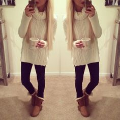 Big long cozy sweater and uggs #winter #sweaterweather
