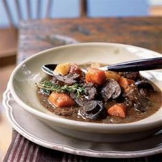 Basic Beef Stew with Carrots and Mushrooms Recipe | MyRecipes.com