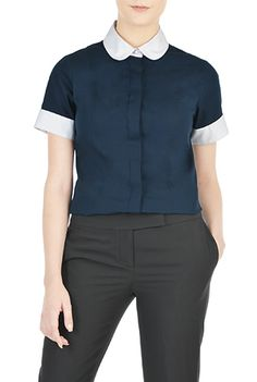 c18c5ae2f4a I  lt 3 this Peter Pan collar poplin shirt from eShakti Tailored Shirts