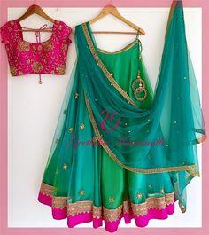 21 Half Saree Color Combinations That You Didn't Think of Earlier Half Saree Designs, Choli Designs, Lehenga Designs, Blouse Designs, Half Saree Lehenga, Lehnga Dress, Bollywood Lehenga, Dress Skirt, Indian Wedding Outfits