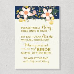Don't Say Bride, Printable Navy Bridal Shower Game, Floral Chic Wedding Shower, Garden Engagement Party - SKUHDG10 by hellodreamstudio on Etsy