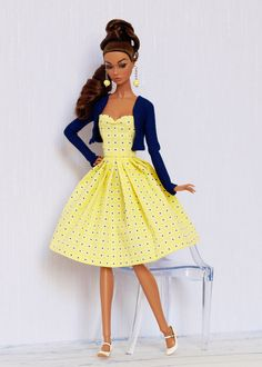 Lemon and indigo outfit for Poppy Parker, Nu face, Barbie by Olgaomi