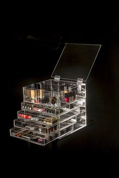 Glamourcube, glamourliving, clear acrylic makeup storage, cosmetics storage, organization, make up collection