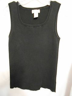 Jones New York Black Ribbed Tank Top Square Neck Size Small Cotton