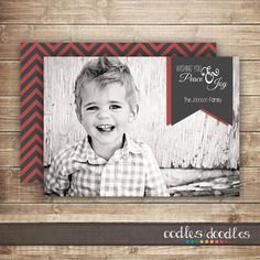 Holiday Photo Card / Christmas Chevron Photo Card / by OandD