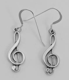 Treble Clef Earrings in Sterling Silver - Musical Note Earrings  $25.50