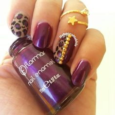 Purple and Nude Studded Leopard Nails using Flormar #411
