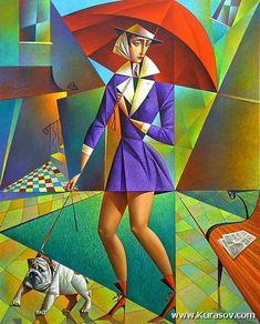 Vibrant Cubist Art Works and Illustrations by Georgy Kurasov Art Pop, Cubist Artists, Pick Art, Umbrella Art, Famous Artwork, Russian Art, Kandinsky, Oeuvre D'art, American Artists
