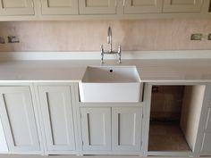 quartz worktops sink in thick tops Belfast Sink Quartz Worktop, Belfast Sink With Granite, Granite Worktops, Boot Room Utility, Neptune Kitchen, Marble Quartz, New Kitchen, Kitchen Ideas, Kitchen Island