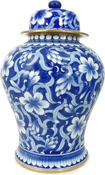 BLUE AND WHITE PORCELAIN JASMINE GINGER JAR.