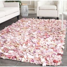 hand made pink natural shag rugs for modernmliving room decor idea