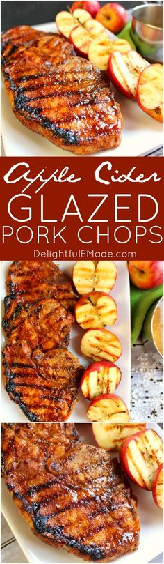 The ultimate recipe for grilled pork chops! Coated with an apple cider glaze, and grilled to perfection, these sweet and savory glazed pork chops are perfect any time you're in the mood for meat!