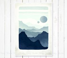 Modern landscape print Whimsical misty mountains and by RoxyStudio, $16.00