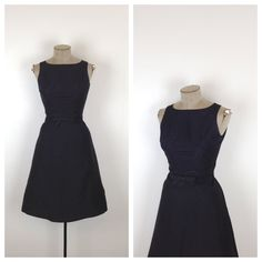 50s Black Sleeveless Party Dress • 1950s Fit and Flare Little Black Cocktail Dress • Bow • Small • Button Back by MotherOfVintage
