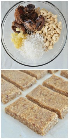 Pineapple Coconut Cake Larabars. A healthy snack recipe that tastes like dessert! Vegan, gluten free and paleo. Desserts Végétariens, Healthy Desserts, Healthy Bars, Healthy Sweets, Raw Food Recipes, Clean Eating Recipes, Gluten Free Recipes, Low Carb Protein Bars, Snack Recipes