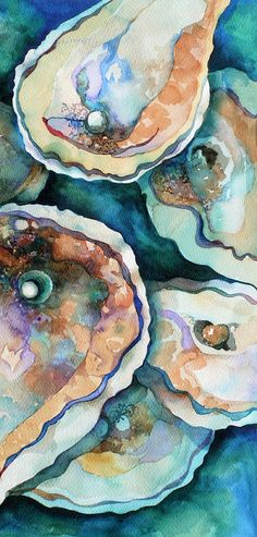 "Title-Oyster.  Artist-Carol Shamrock.  Medium-Painting - Watercolor.  Description - ""I love the translucent and transparent layers of water and the sea. The rough, coarse texture of the oyster shell is contrasted by the iridescent pearl inside. Exteriors can be deceiving. A metaphor of life.""  Via Jacqui Milton"