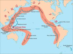 "The Ring of Fire  The Ring of Fire"" is an arc stretching from New Zealand, along the eastern edge of Asia, north across the Aleutian Islands of Alaska, and south along the coast of North and South America."