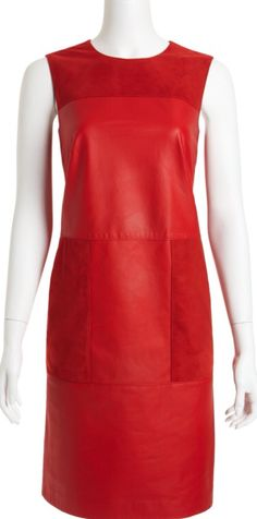 W by Worth Red Leather & Suede Dress
