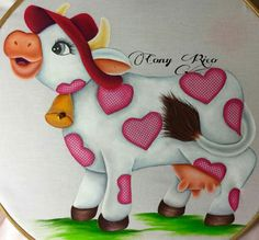 Cow with hat Tole Painting, Fabric Painting, Painting Patterns, Quilt Patterns, Cow Illustration, Sweet Cow, Cow Pattern, Baby Cows, Paintings
