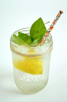 Gin, elderflower and basil fizz