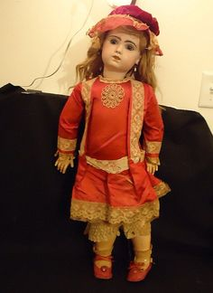 """Antique French 31"""" French Bisque Jumeau Doll Original Clothes"""