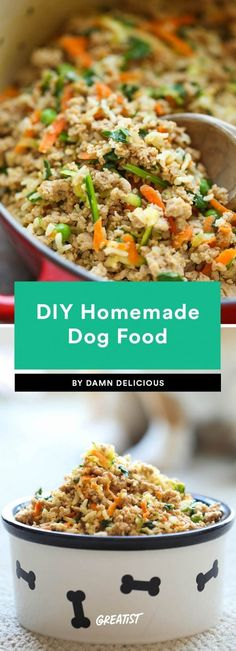 Healthy homemade dog food is easier to make than you think — in some cases, all you need is a slow cooker. These simple recipes have a good balance of protein, veggies, and grains to keep your best friend happy. They may even beg for seconds. Make Dog Food, Puppy Food, Dry Dog Food, Pet Food, Homemade Dog Treats, Healthy Dog Treats, Doggie Treats, Best Homemade Dog Food, Dog Treat Recipes