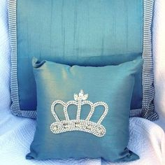 Crown Bling Pillow - blue silk shantung  www.crownchic.com