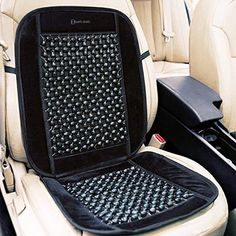 """Zento Deals Black Wooden Beaded Plush Velvet Seat Cover Premium Quality Ultra Comfort Massage Cool Car Seat Cushion 35""""x17"""". For product info go to:  https://www.caraccessoriesonlinemarket.com/zento-deals-black-wooden-beaded-plush-velvet-seat-cover-premium-quality-ultra-comfort-massage-cool-car-seat-cushion-35x17/"""