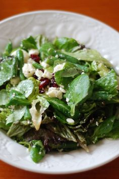 Cranberry, Feta Cheese and Walnut Salad with Honey Mustard Vinaigrette #Recipe