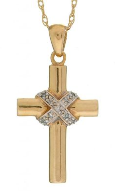 A DIAMOND SET 9CT GOLD CROSS PENDANT AND NECKLET, 3.9G  Sold @ Mellors & Kirk