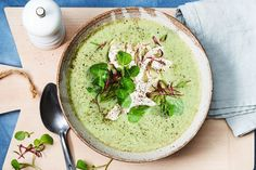 Chicken turns this humble broccoli soup into an extra special midweek meal.