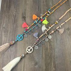 Collares 2017 de La Manera de Cadena Larga Collares y Colgantes para Las Mujeres Joyería de La Vendimia de BOHO del Símbolo de Paz Collar Collier