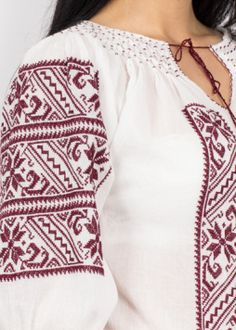 Romanian Blouse - Lumina Embroidery Fashion, Floral Embroidery, Folk Costume, Costumes, Ethnic Fashion, Bell Sleeve Top, The Incredibles, Chic, Pattern