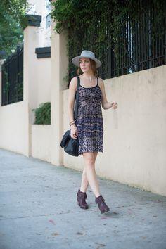 Bohemian lightweight dress, fringe ankle boots, fedora | Summer blogger style