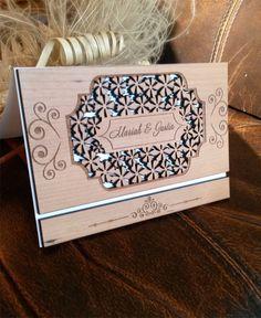 Increible Laser corte invitación de la boda madera cerezo