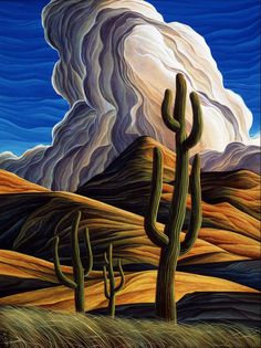 TRES by William Haskell x acrylic Manitou Galleries Abstract Landscape, Landscape Paintings, Abstract Art, Landscapes, Southwestern Art, Cactus Art, Cactus Plants, Desert Art, Art Graphique